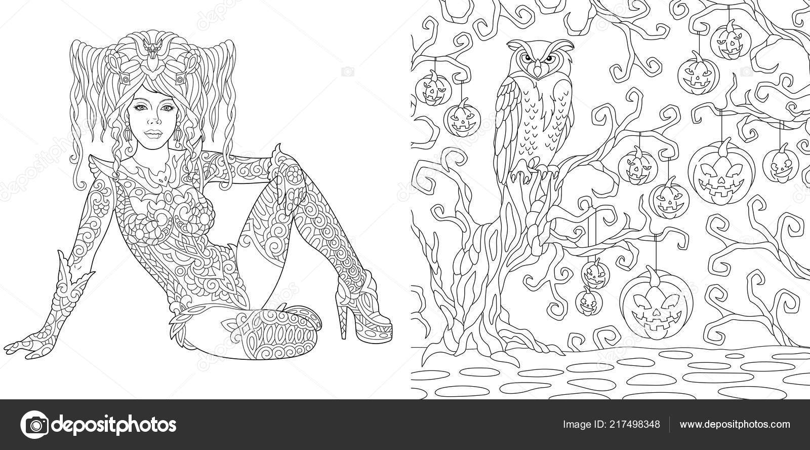 Coloring Pages Coloring Book Adults Halloween Girl Horror Background
