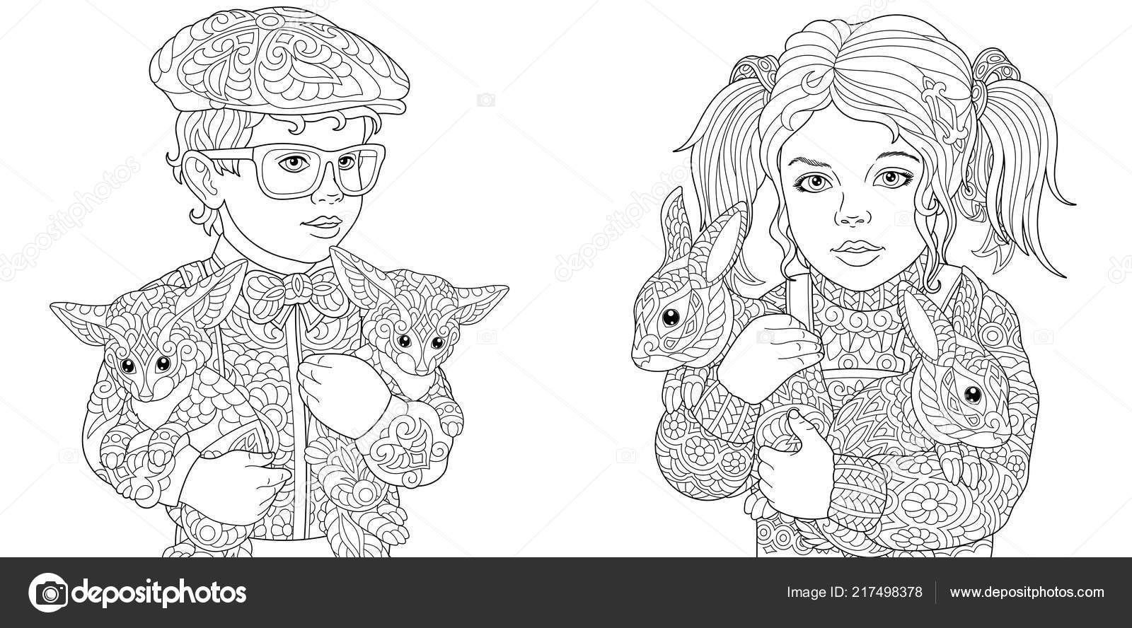 Girl Boy Coloring Pages Coloring Book Adults Colouring Pictures Kids ...