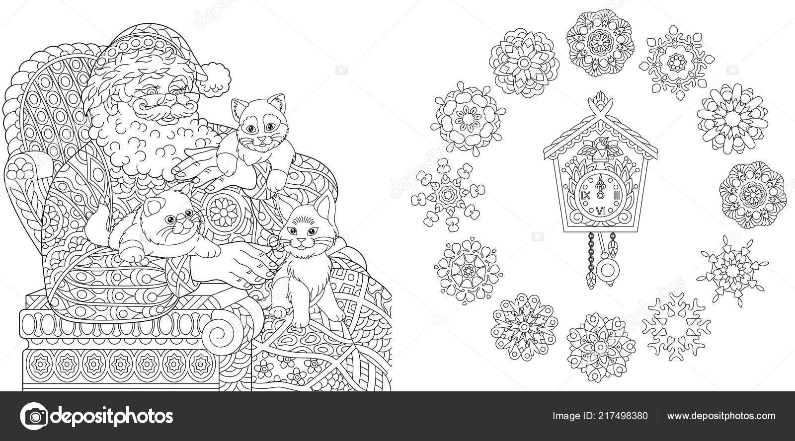 Christmas New Year Coloring Pages Coloring Book Adults Santa Claus