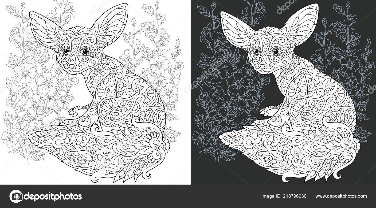 Malvorlagen Malbuch Ausmalbild Mit Fennec Fox Zentangle Stil