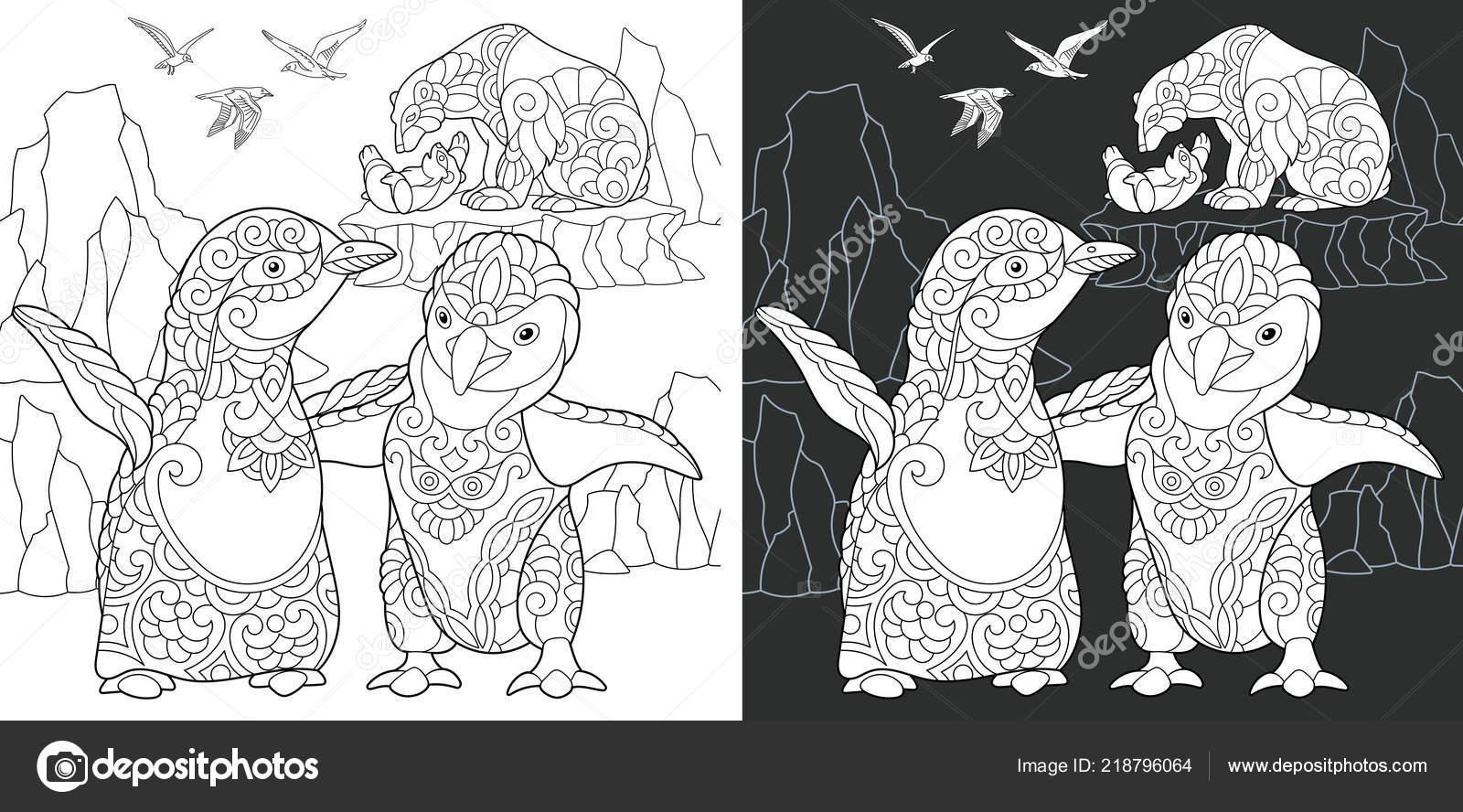 Penguen Boyama Sayfası Boyama Kitabı Kutup Hayvanlarla Zentangle