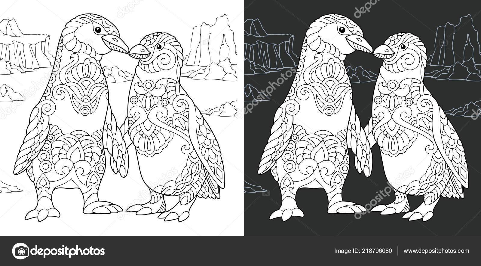 Malvorlagen Malbuch Ausmalbild Mit Pinguin Paar Zentangle Stil