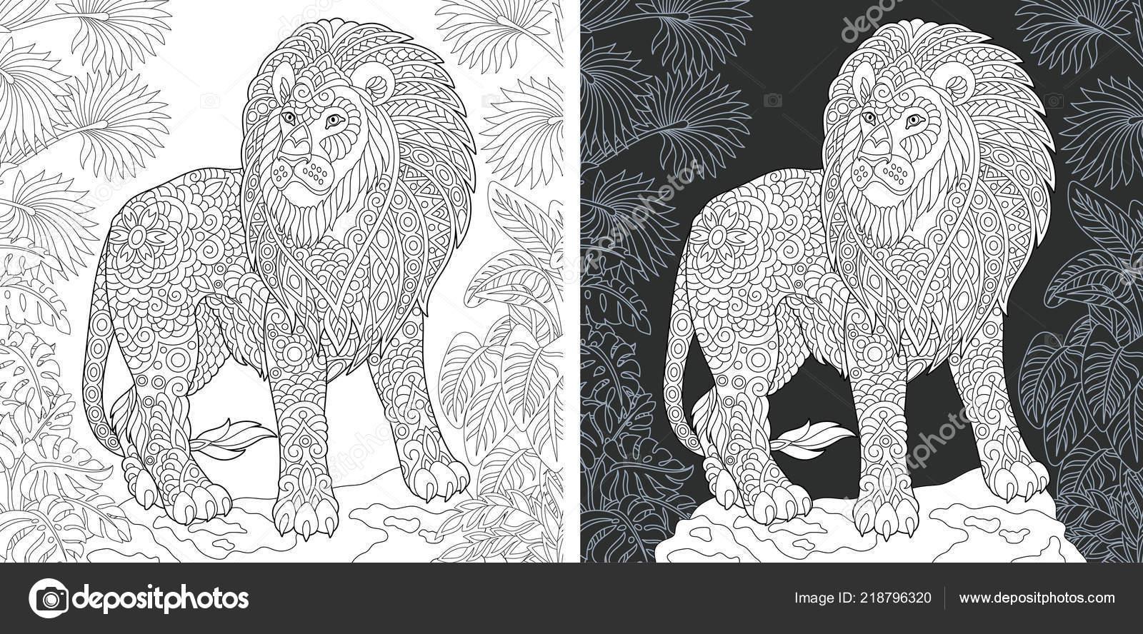 Tier Malvorlagen Malbuch Ausmalbild Mit Löwen Zentangle Stil