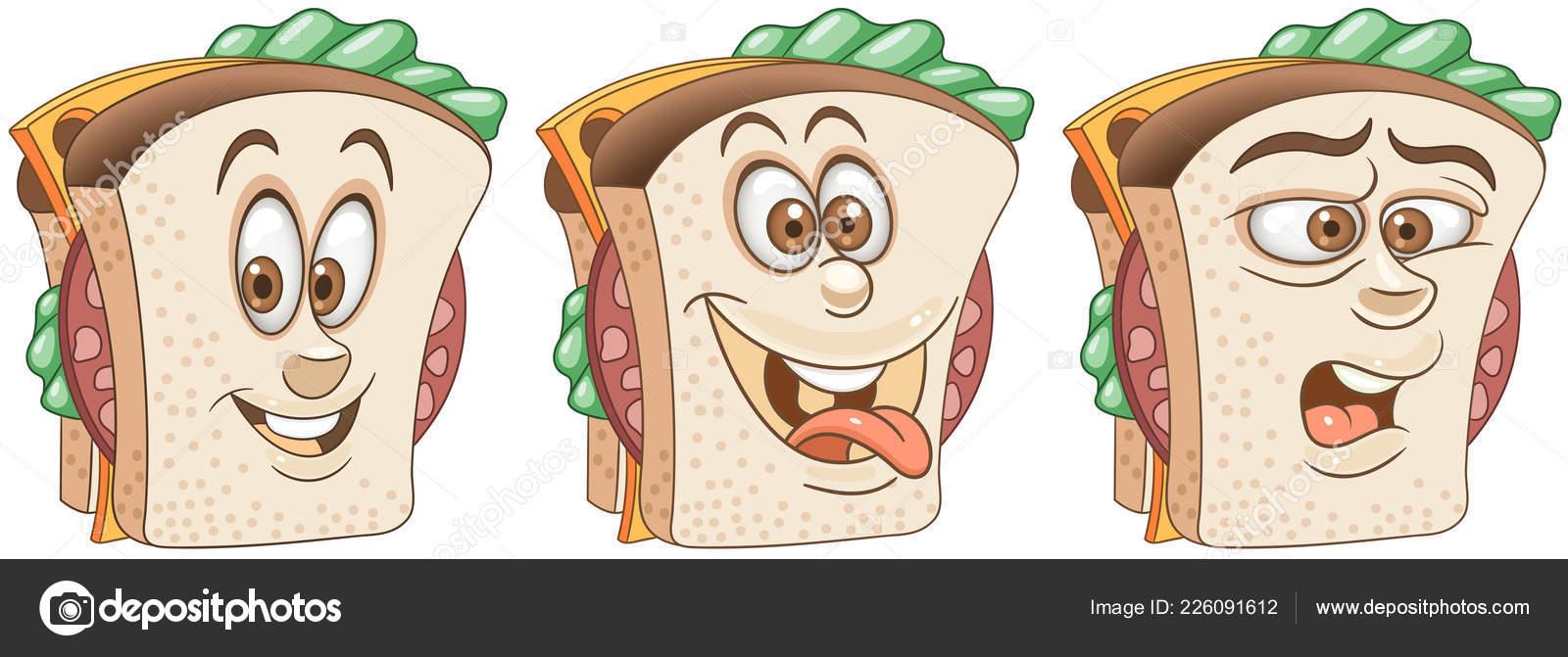 Sandwich concetto cibo snack collezione emoji emoticon personaggi