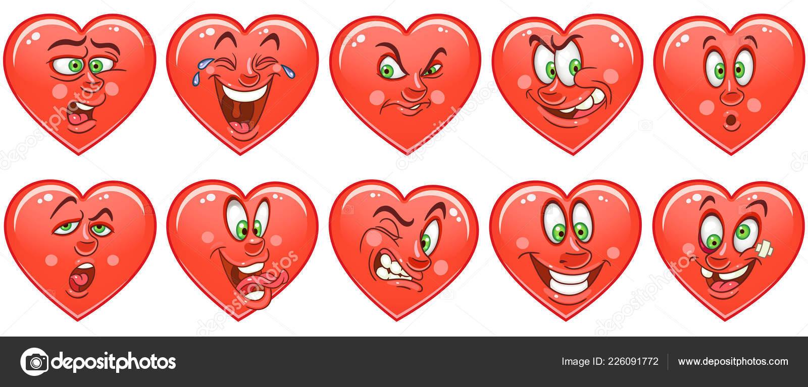 Hearts Emoticons Collection Emoji Set Love Symbols Cartoon