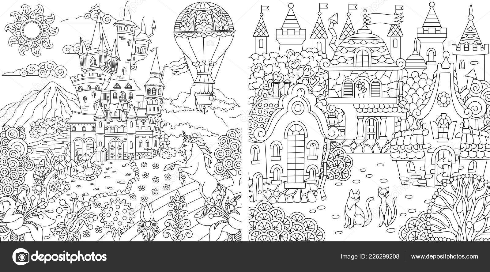 Pictures: houses for colouring   Coloring Pages Coloring Book Adults ...