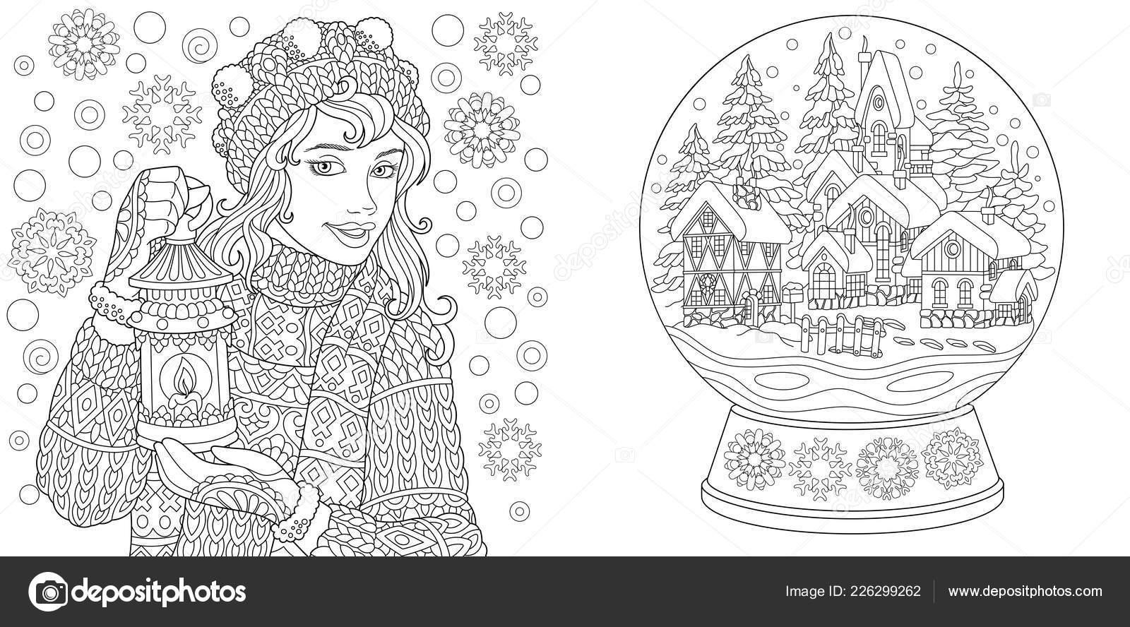 Malvorlagen Malbuch Für Erwachsene Ausmalbilder Mit Winter Mädchen