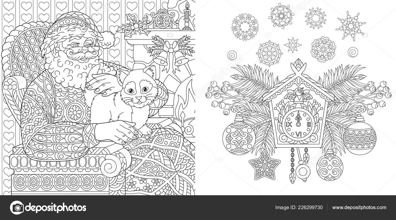 Christmas Colouring Pages Santa Christmas Coloring Book Christmas Colouring Pages Santa Claus Cat Vintage Stock Vector C Sybirko 226299730