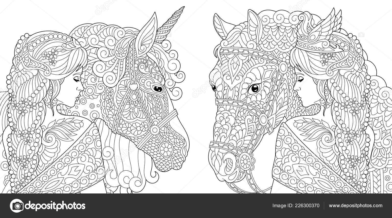 paarden kleurplaat voor volwassenen