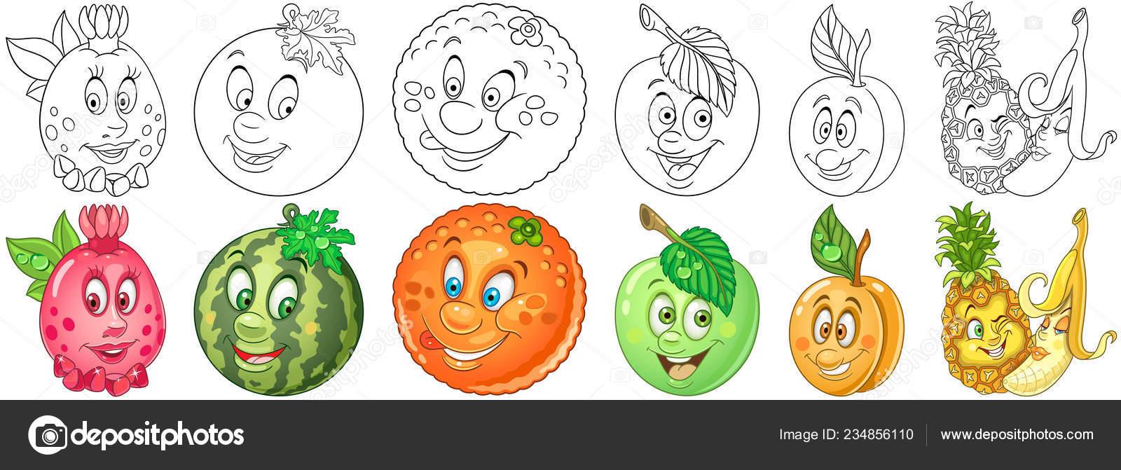 Kleurplaten Fruit En Groente.Fruit Set Tekenfilm Kleurplaten Groenten Tekens Stockvector