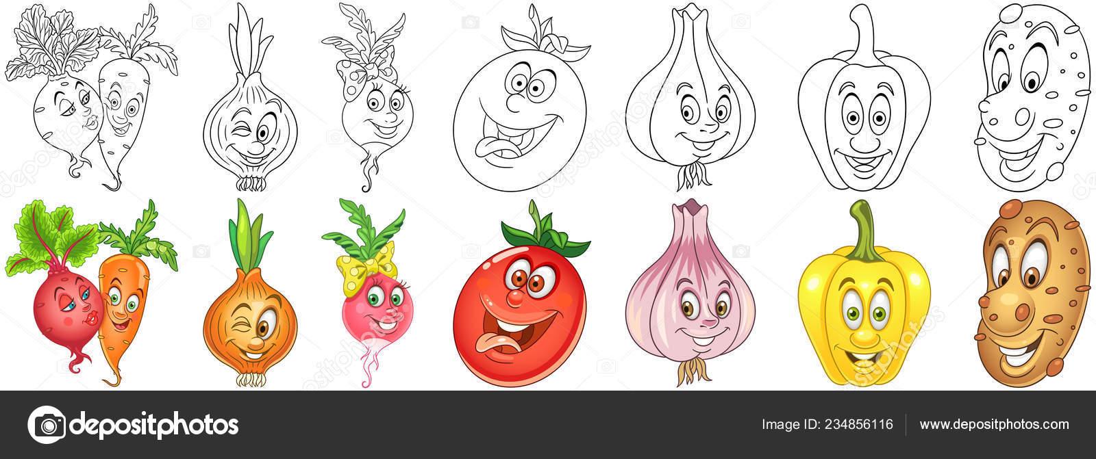 Coloriage Pomme Et Oignon Dessin Anime.Ensemble Legumes Dessin Anime Coloriage Des Personnages