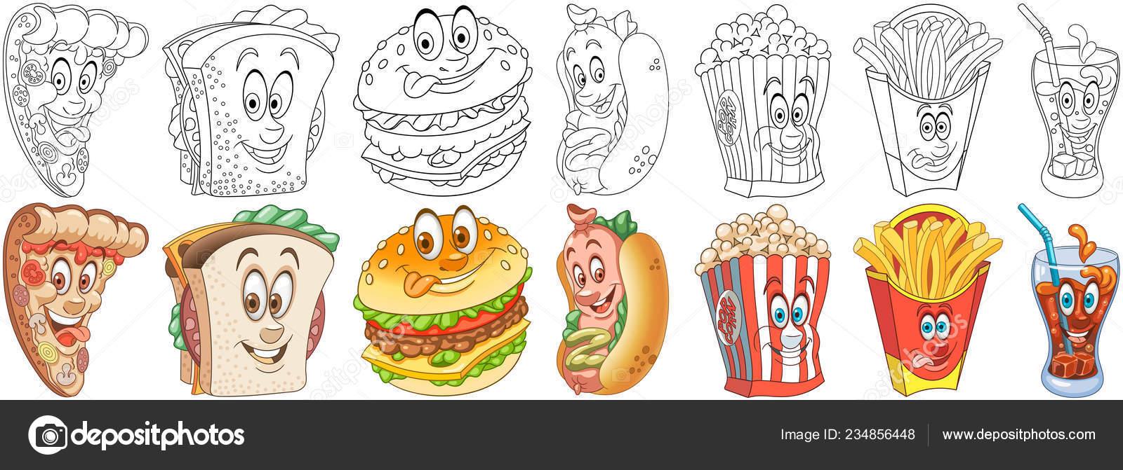Conjunto Comida Rápida Dibujos Para Colorear Personajes Alimentos