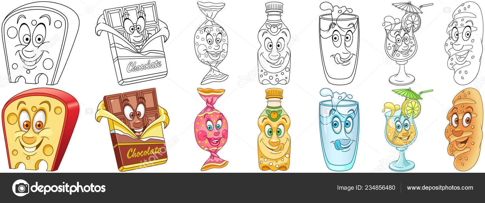 Schattige Kleurplaten Van Eten.Eten Drinken Instellen Tekenfilm Kleurplaten Voedsel Tekens