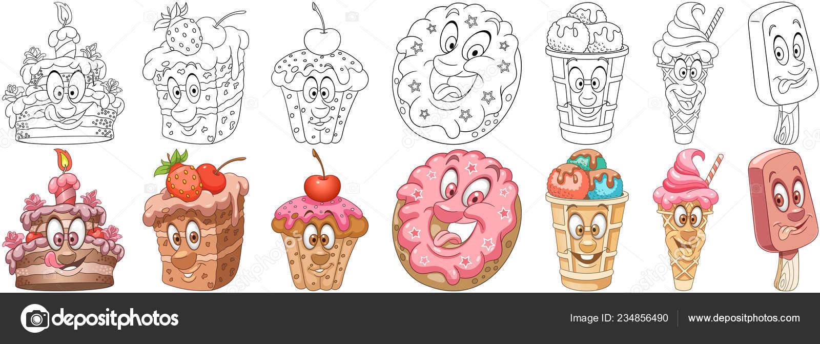 imagenes de alimentos dulces para colorear