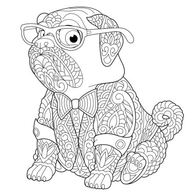 Coloring page. Anti stress colouring picture with pug dog. Freehand sketch drawing with doodle and zentangle elements.