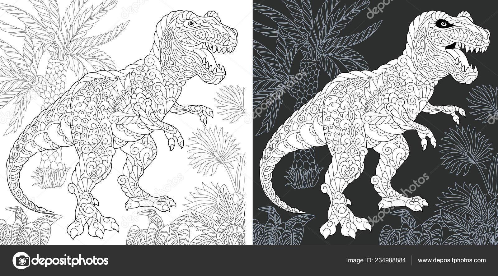 Kleurplaten Dinosaurus Rex.Kleurplaat Dinosaur Collectie Kleuren Van Foto Met Tyrannosaurus Rex