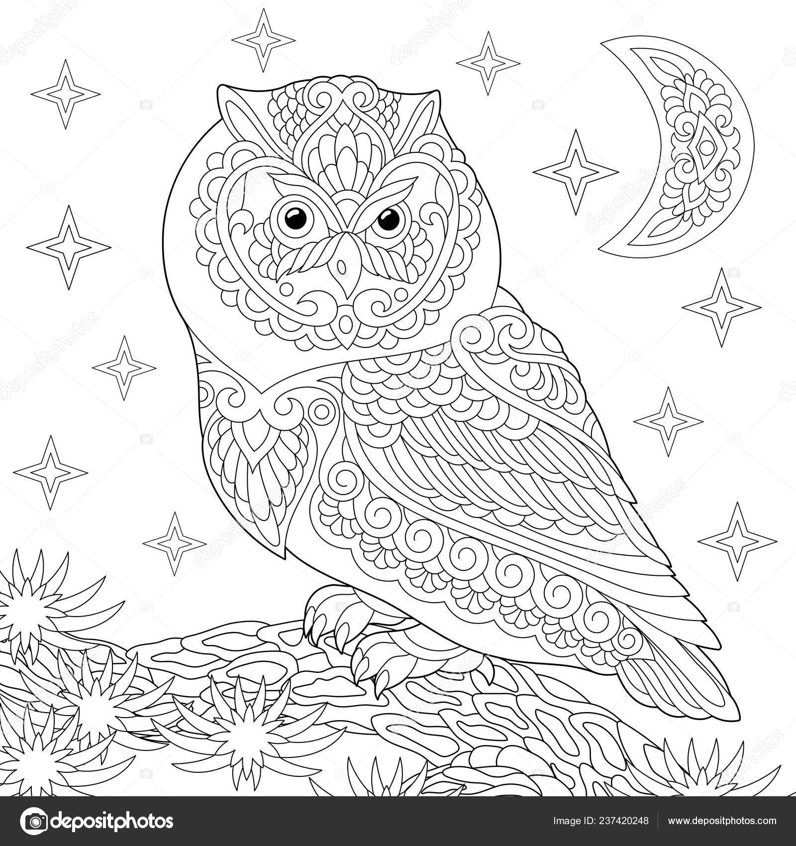 Coloriage Anti Stress Hibou.Coloriage Livre Coloriage Photo Coloriage Stress Avec Hibou