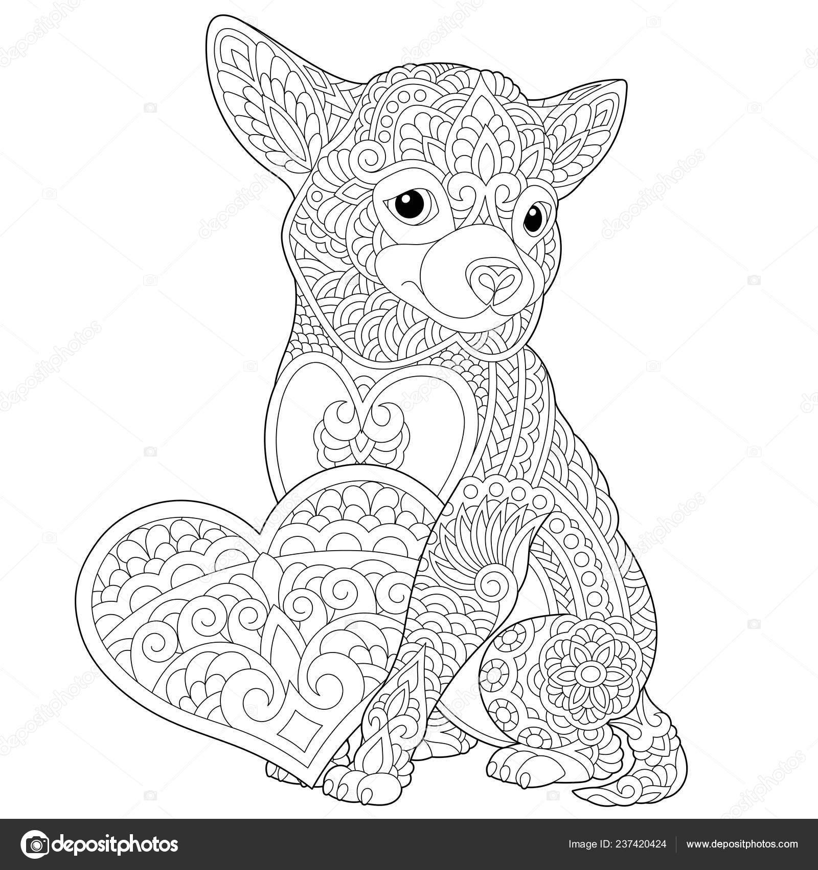 kleurplaat mooie hond met hart voor valentijnsdag kaart
