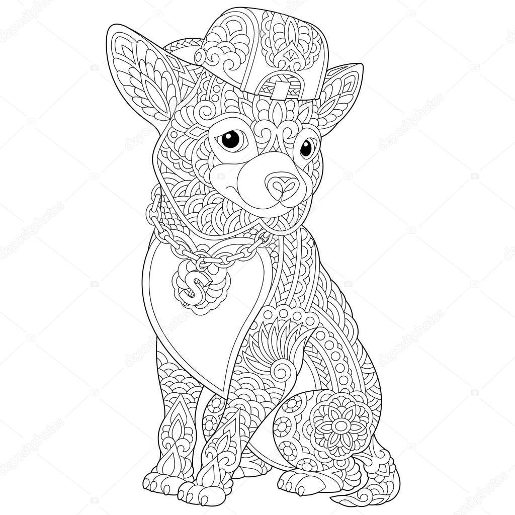 zentangle chihuahua pies kolorowanki grafika wektorowa