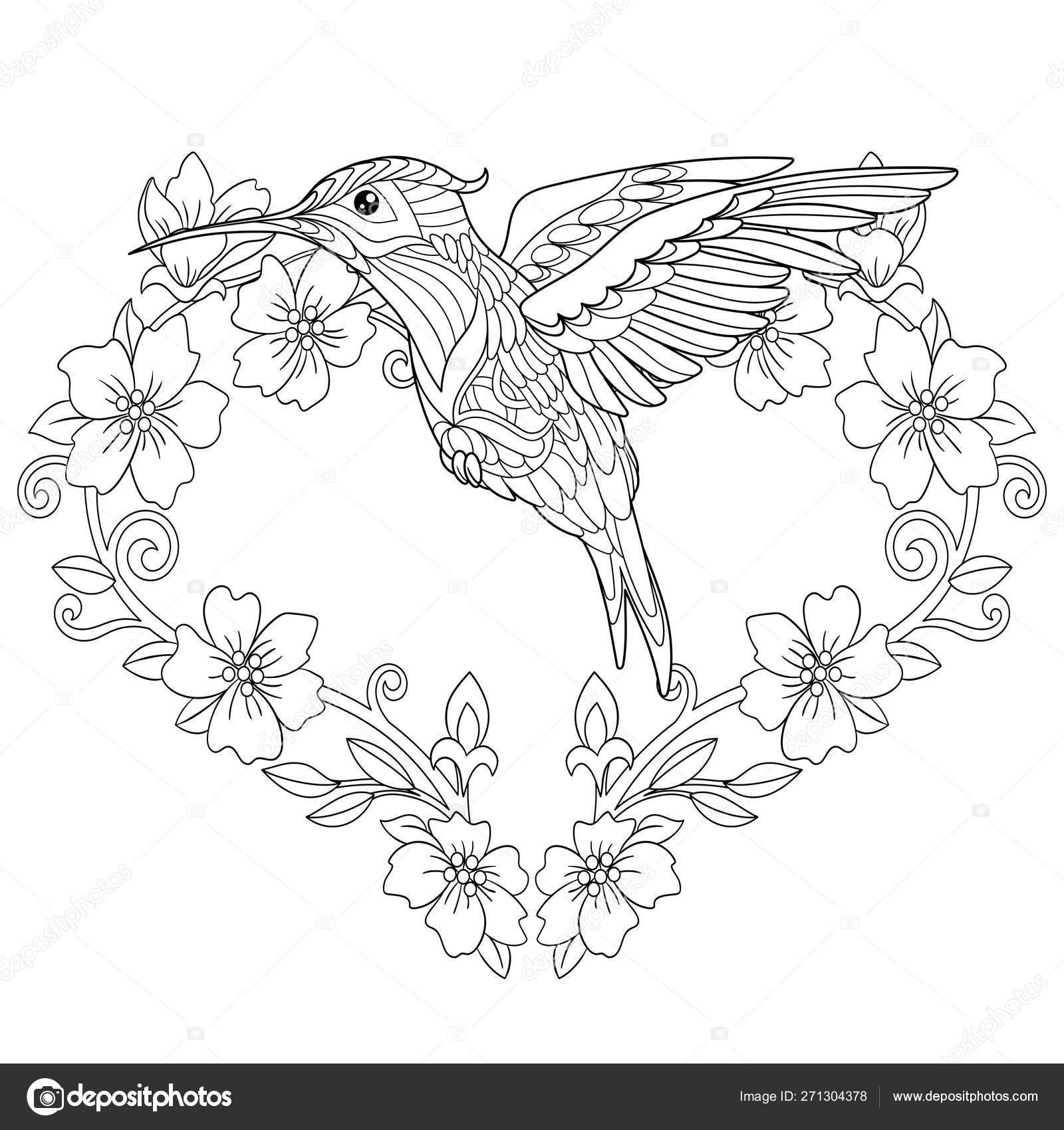 Zentangle hummingbird coloring page — Stock Vector © Sybirko ...