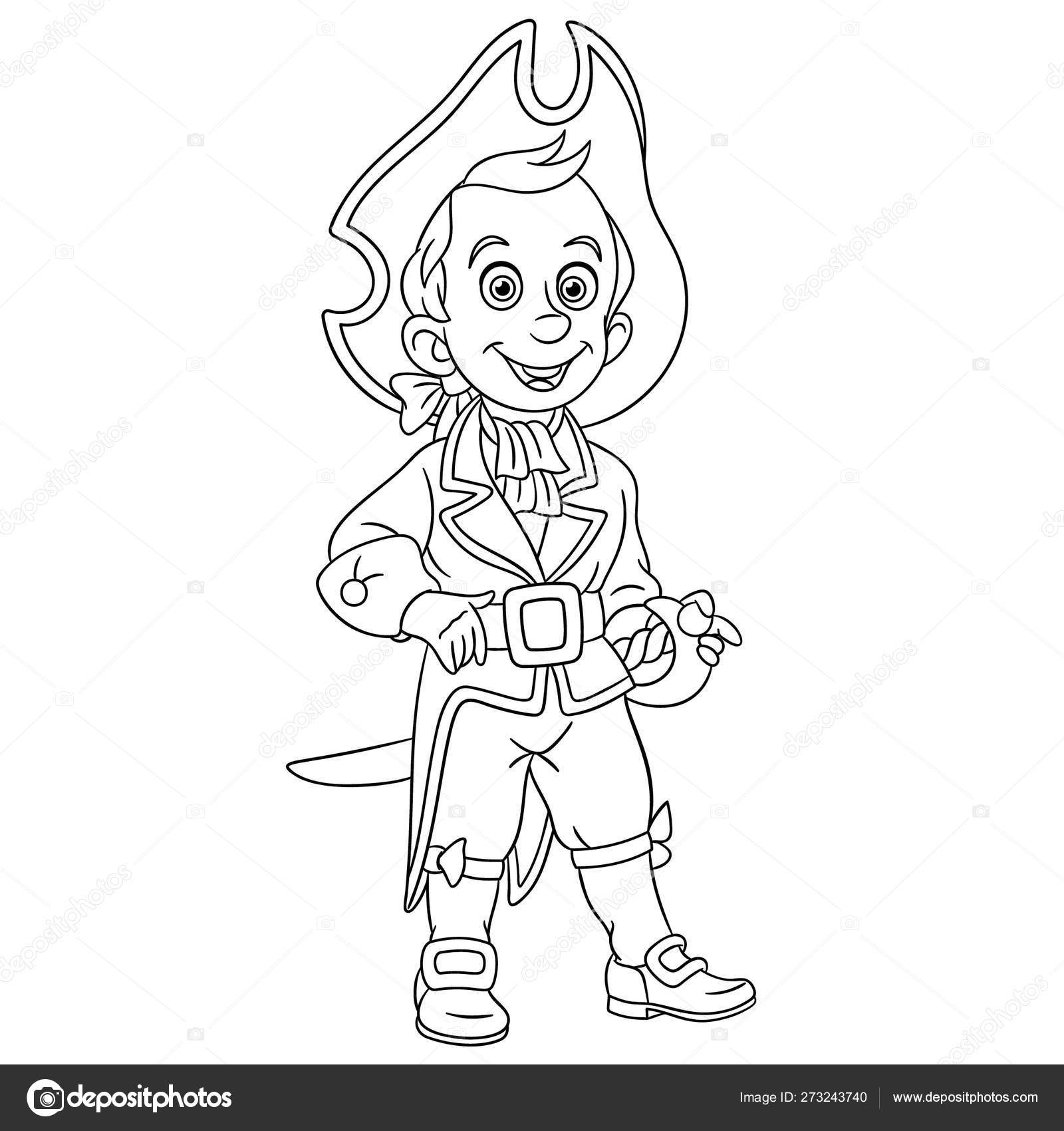 Coloring page with ship sailor captain pirate stock vector