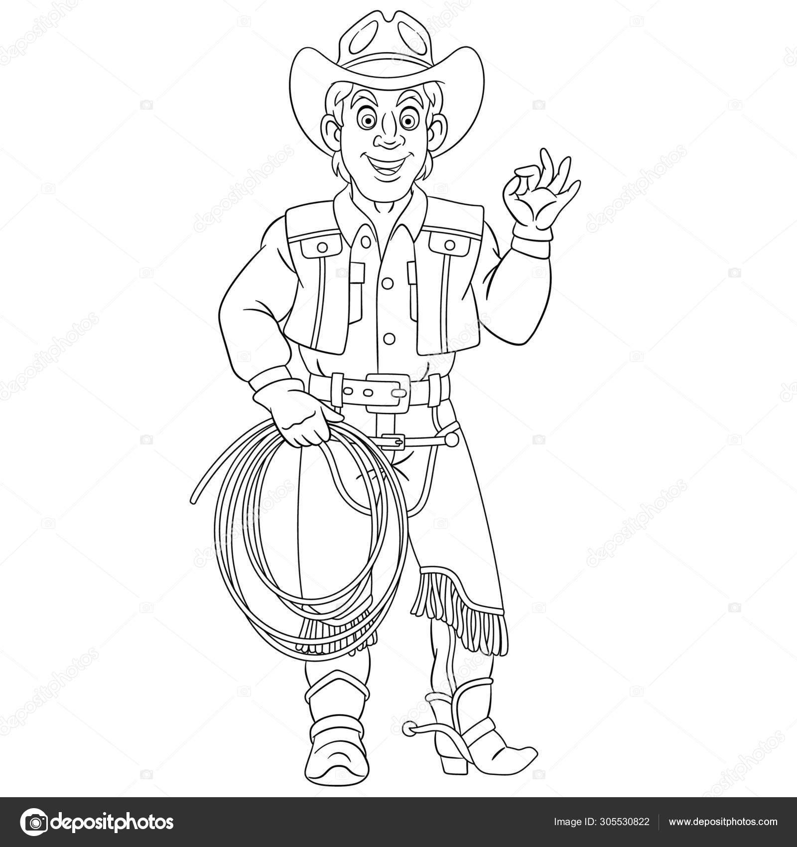 Página Para Colorear Con Vaquero Jinete De Caballos
