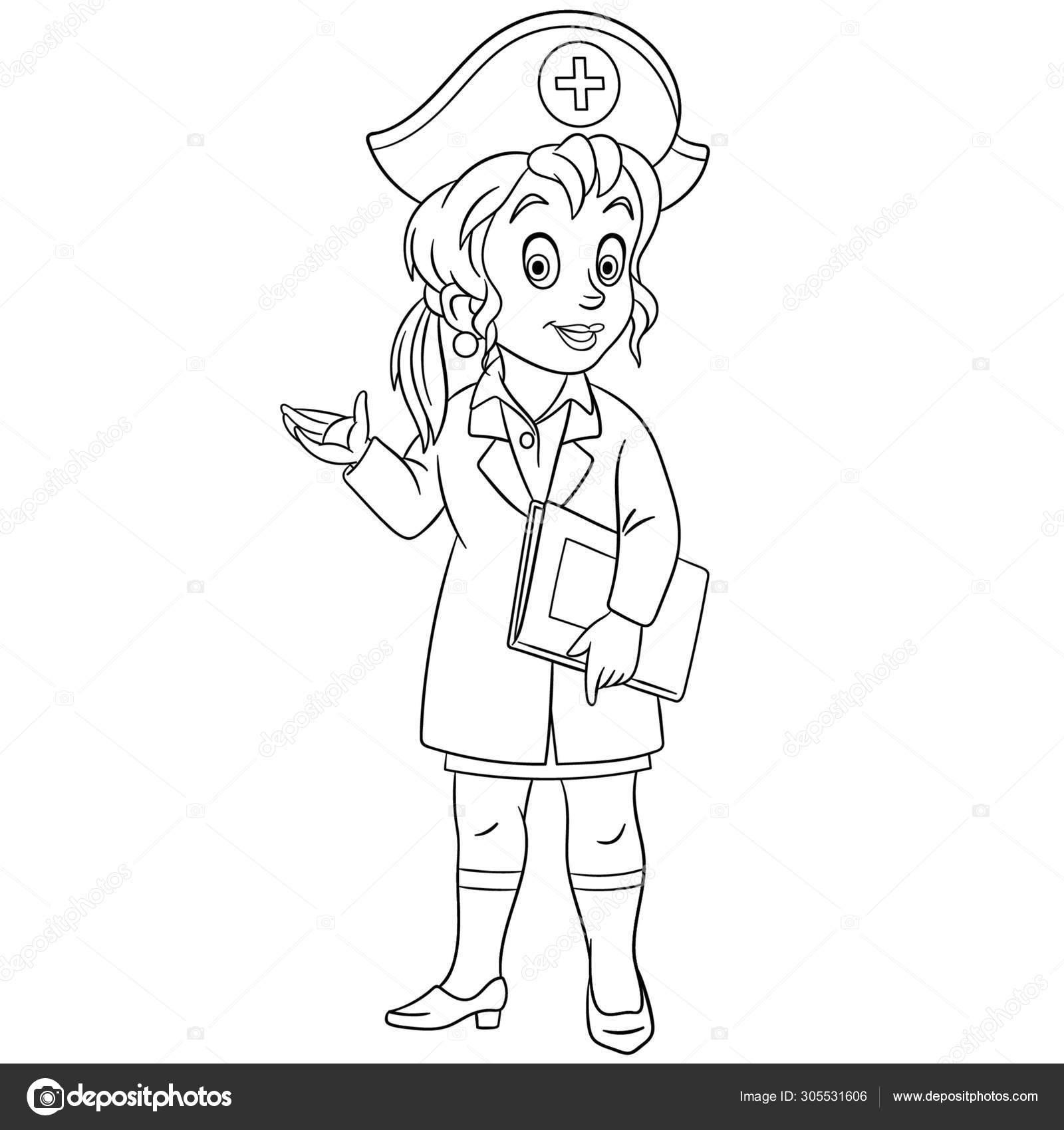 Página Para Colorear Con Enfermera Doctora Femenina