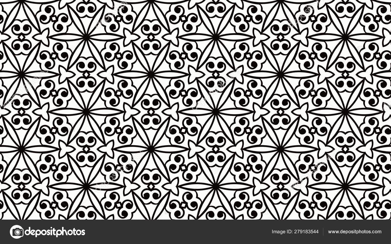 Black White Vintage Floral Pattern Wallpaper Beautiful Elegant