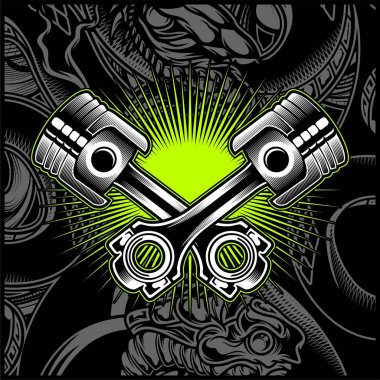 Cross Motorcycle Piston Black and White Emblem,Logos,Badge - Vector stock vector