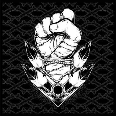 A clenched fist held high in protest - Vector