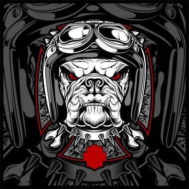 bulldog wearing helmet hand drawing vector