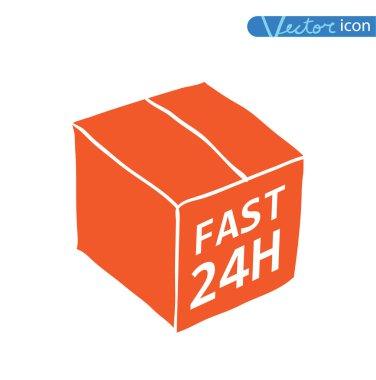 Free shipping box. Vector illustration