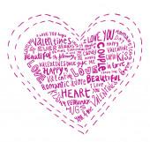 Herz aus Worten Liebe, Vektorillustration.