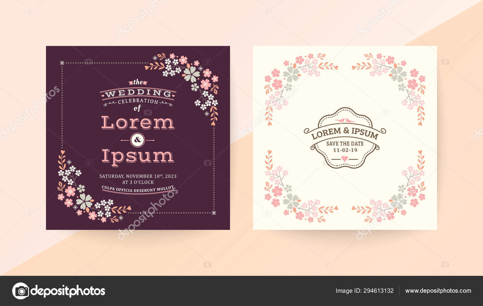 Wedding Invitation Card With Pink Floral Frame Border With