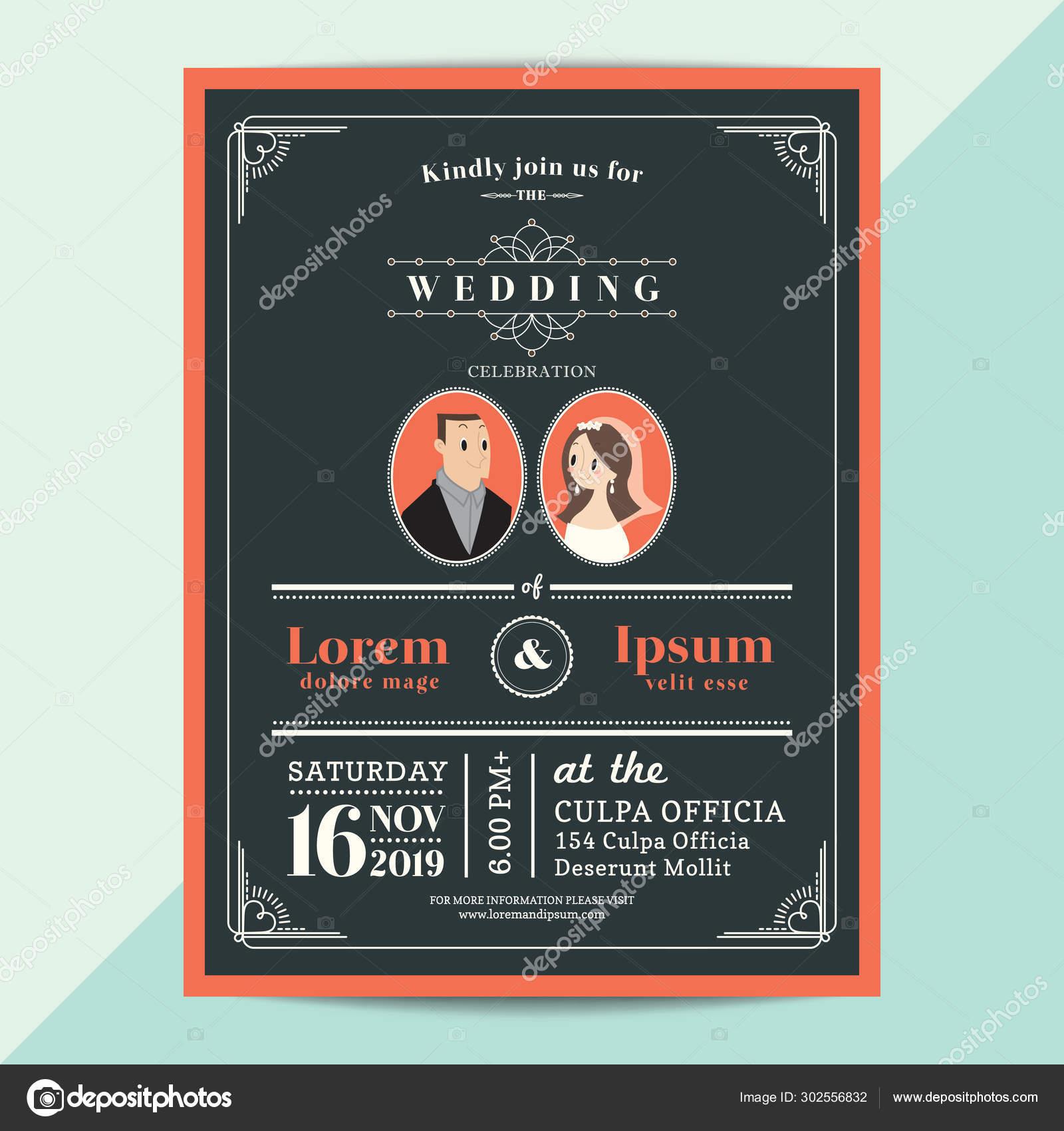 Modern Vintage Wedding Invitation Card With Orange Color