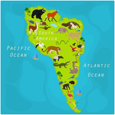 Vector map of animals of South America.