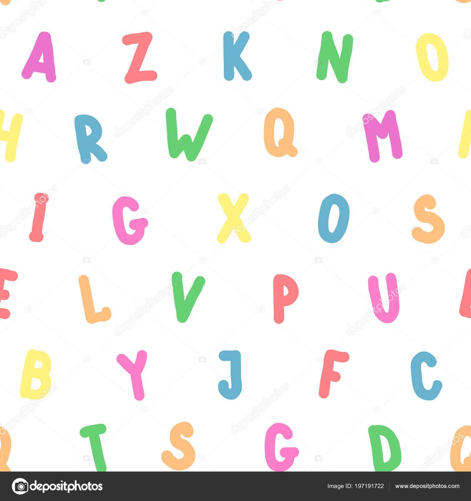 Eenvoudig Naadloze Patroon Engels Kleurrijke Alfabet Leuke Brief