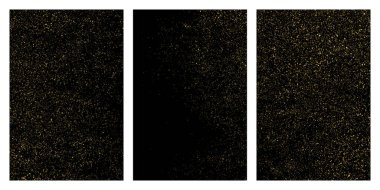 Gold glitter texture isolated on black. Amber particles color. Celebratory background. Golden explosion of confetti. Set vector illustration,eps 10.
