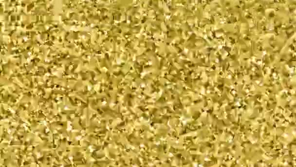 Villódzásmentes arany konfetti. Gold Glitter textúra Motion fekete háttér. Hurok egyedi tervezés absztrakt digitális animáció.