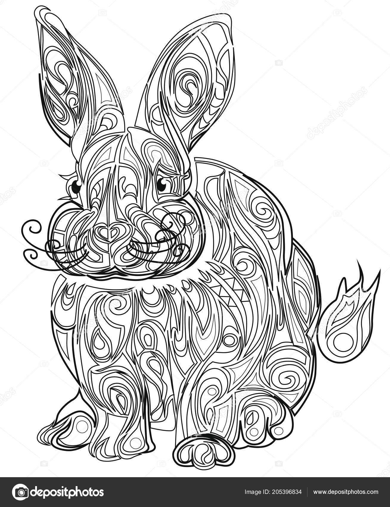 Color Therapy Stress Coloring Book Hare Stock Vector C L Grape