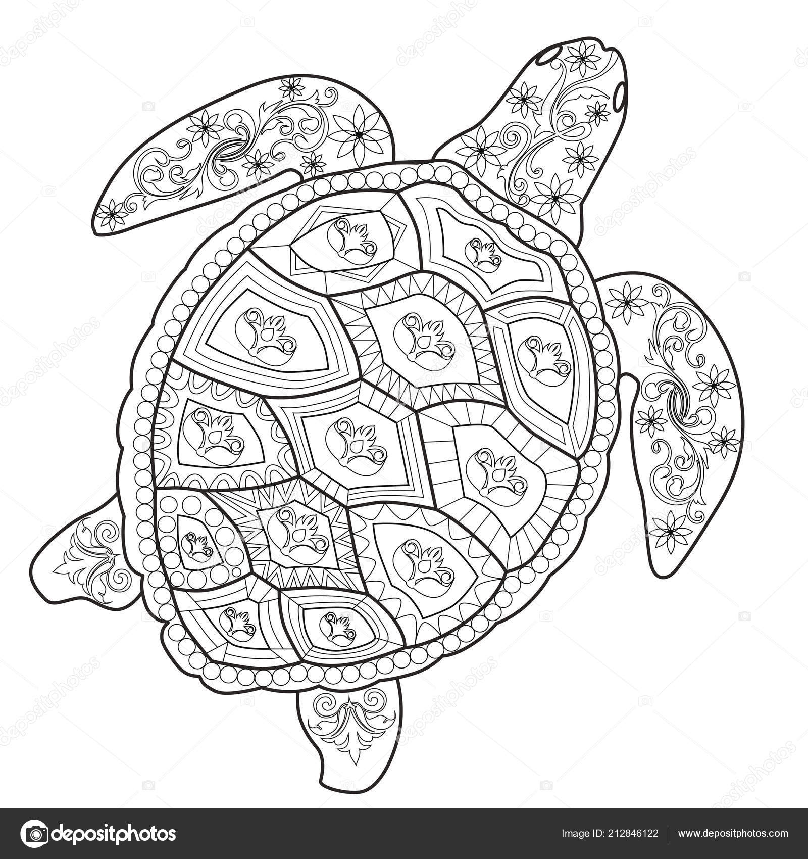 Color Therapy: An Anti-Stress Coloring Book Sea turtle ...
