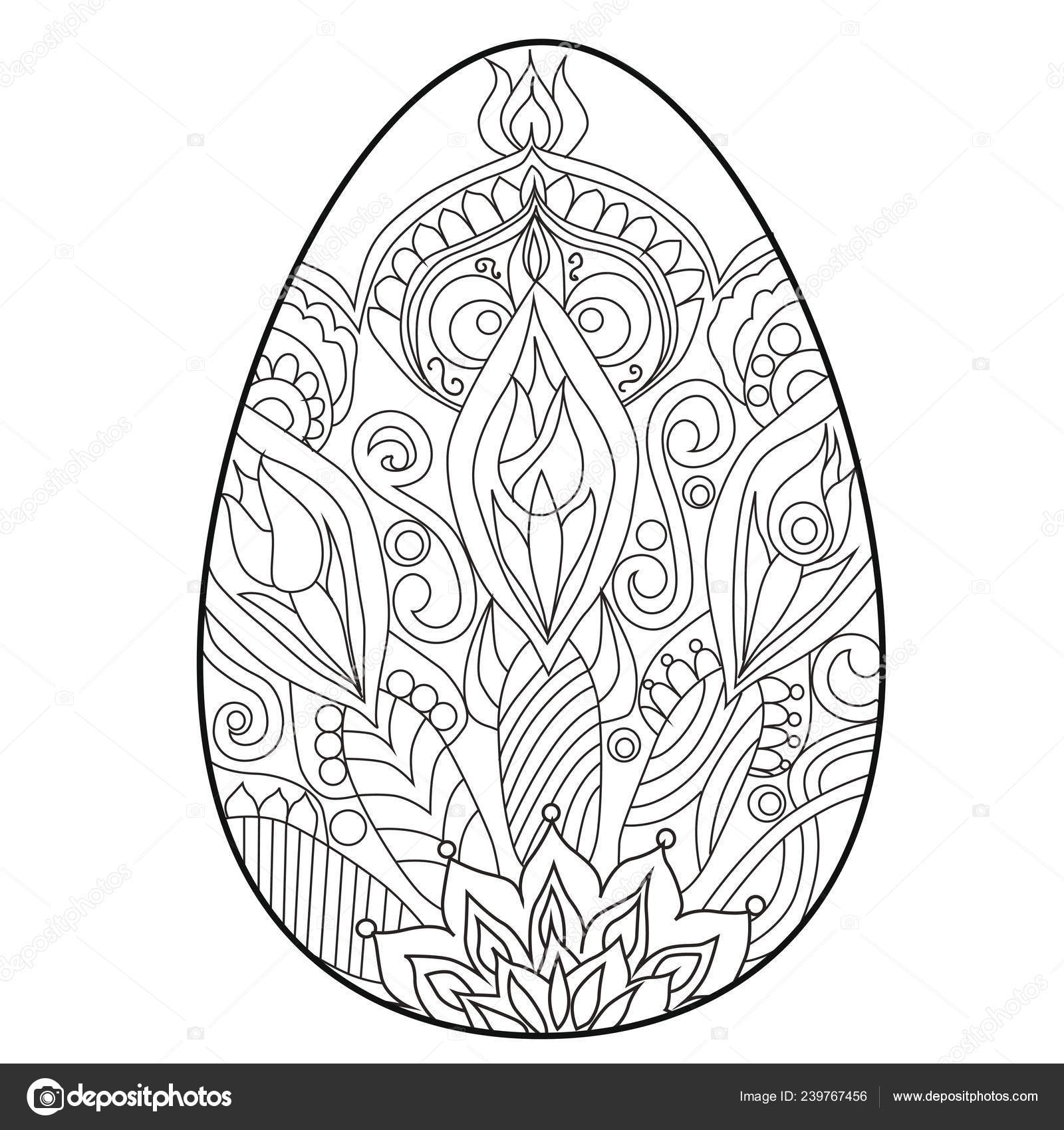 Coloring book anti stress egg easter colour therapy black contour on a white background painting eggs vector by l grape