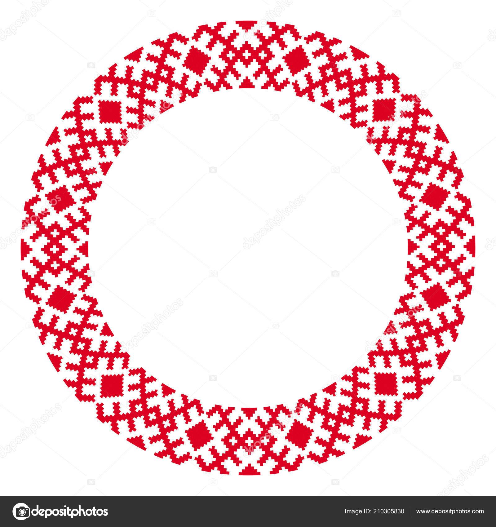 Bordado Tradicional Redondo Ilustración Vector Patrón Bordado ...