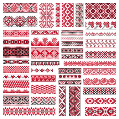 Big set of traditional embroidery. Vector illustration of ethnic seamless ornamental geometric patterns for your design