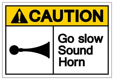 Caution Go Slow Sound Horn Symbol Sign, Vector Illustration, Isolated On White Background Label .EPS10