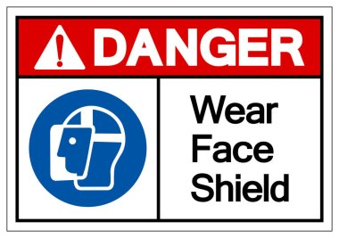 Danger Wear Face Shield Symbol Sign,Vector Illustration, Isolated On White Background Label. EPS10 icon