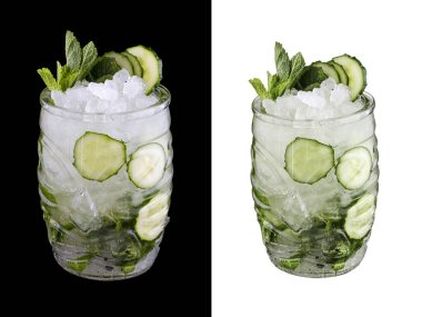 Cucumber cocktail on white and dark background