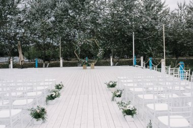 outdoor wedding ceremony.decoration and decoration of an outdoor wedding ceremony