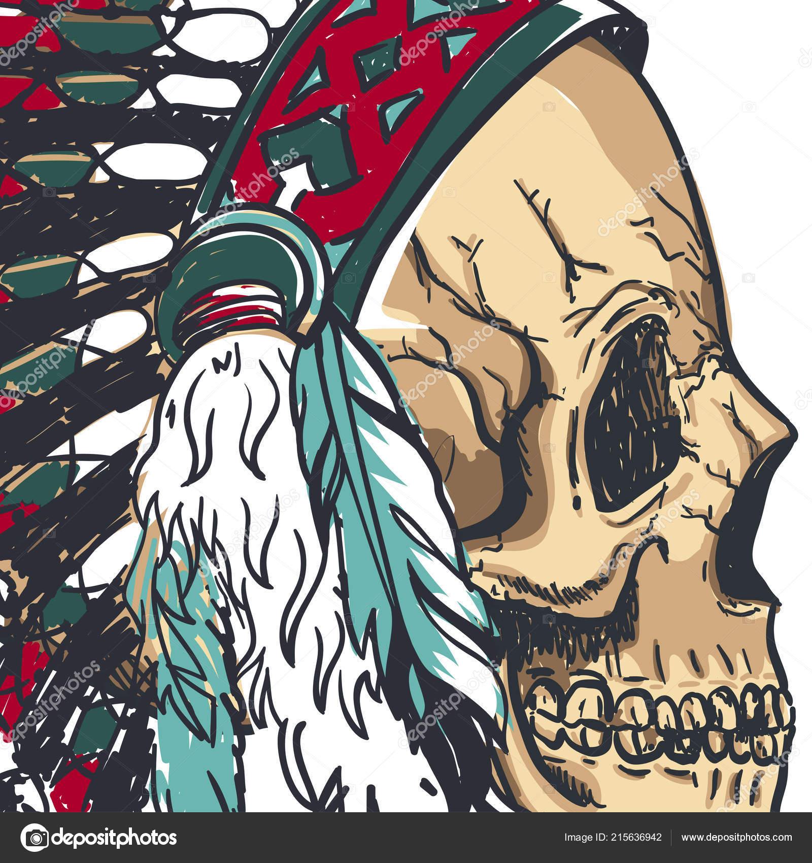Calavera con sombrero de plumas indias en Dotwork estilo. Arte de vectores  Grunge– ilustración de stock cf39e28d2b7