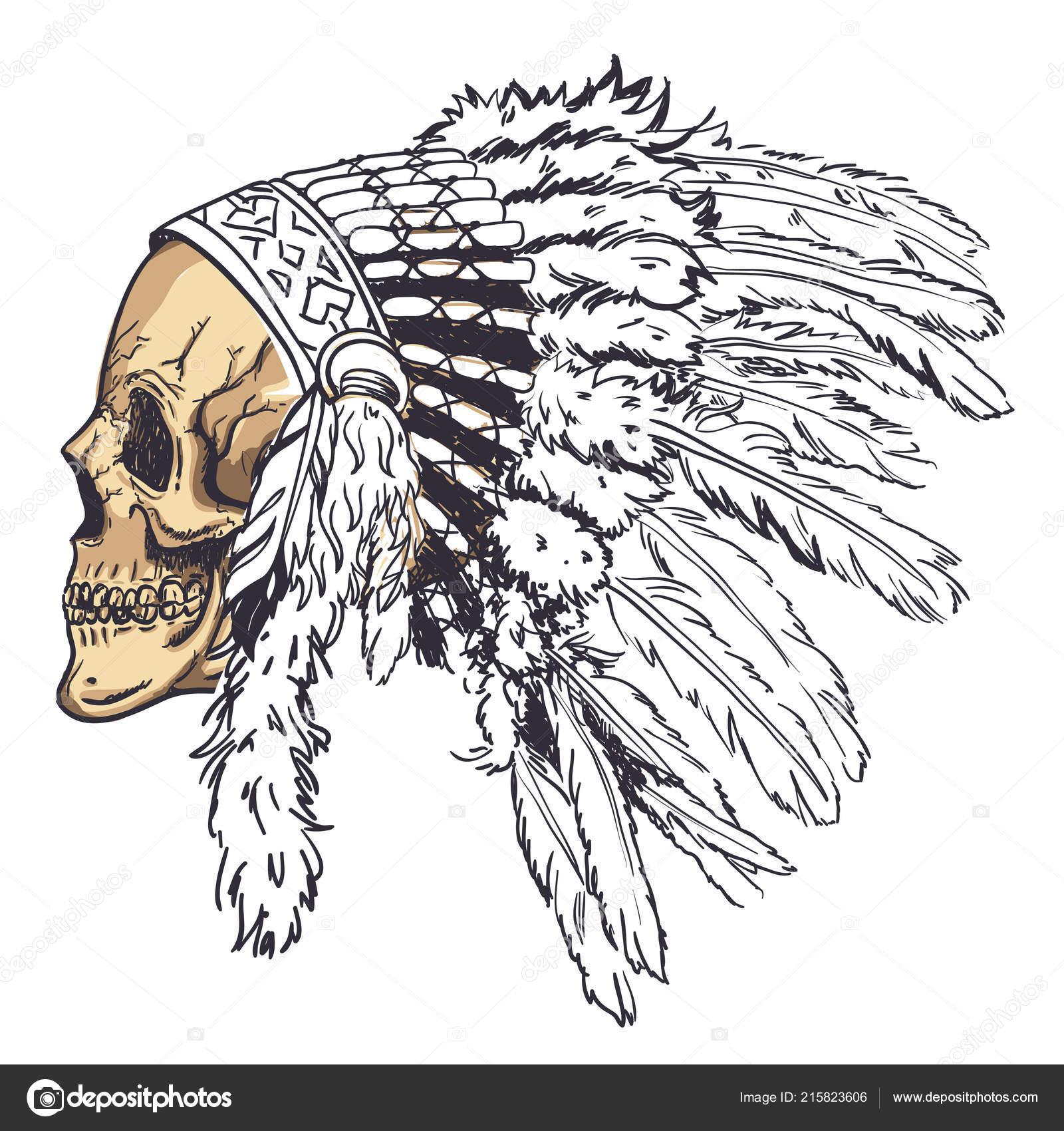 Calavera con sombrero de plumas indias en Dotwork estilo. Arte de vectores  Grunge– Ilustración de Stock 9dada9820bb